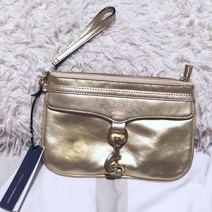 NWT Rebecca Minkoff gold painted clutch/wristlet!